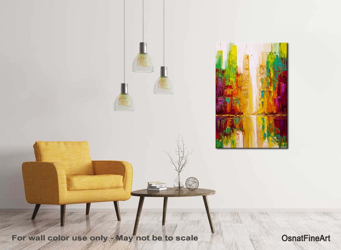 Colorful modern city painting textured abstract art for Textured acrylic abstract paintings