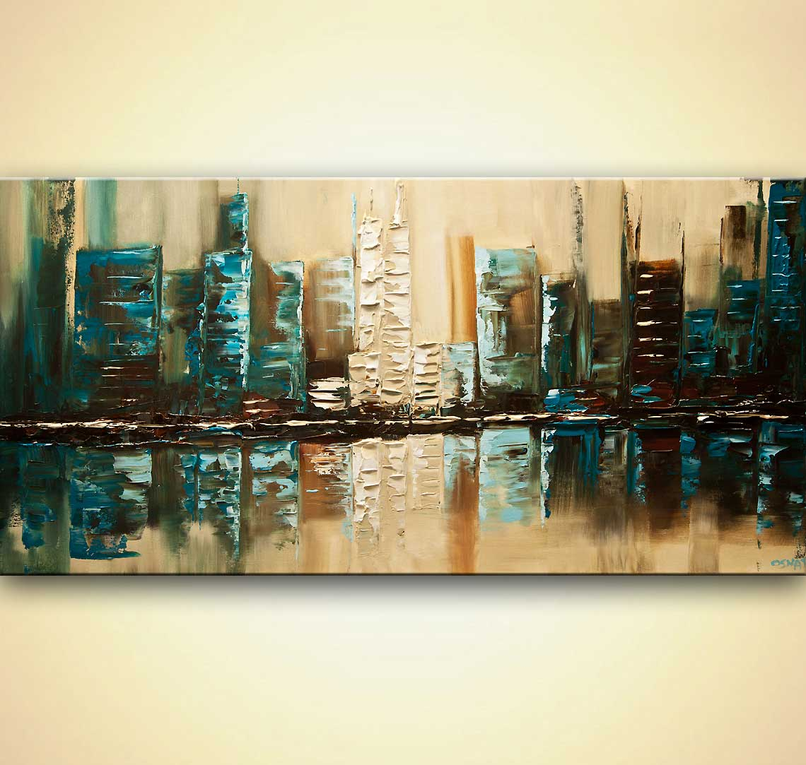 modern textured teal abstract city painting