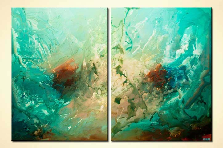 contemporary turquoise abstract art