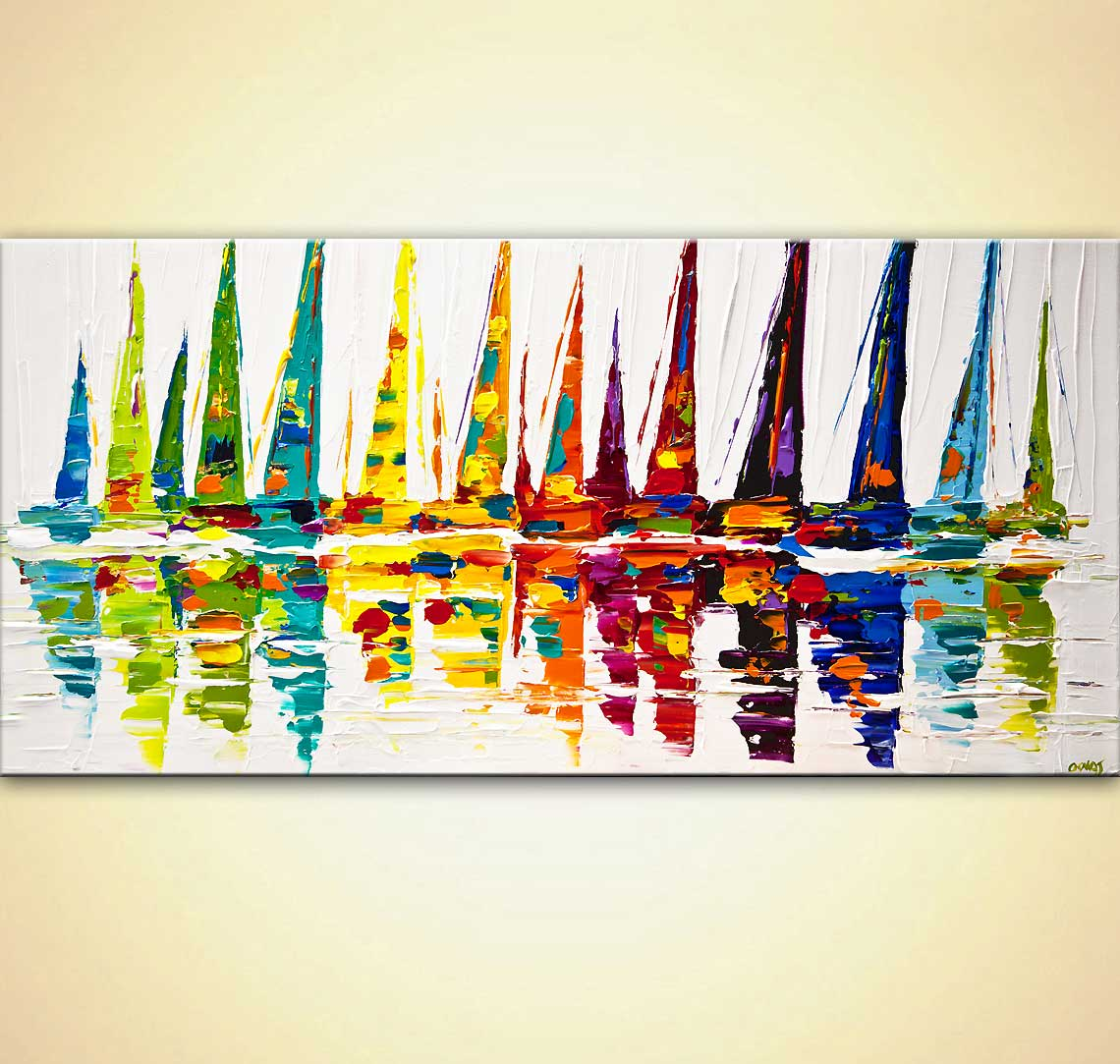 modern abstract art - Yellow Sailboats