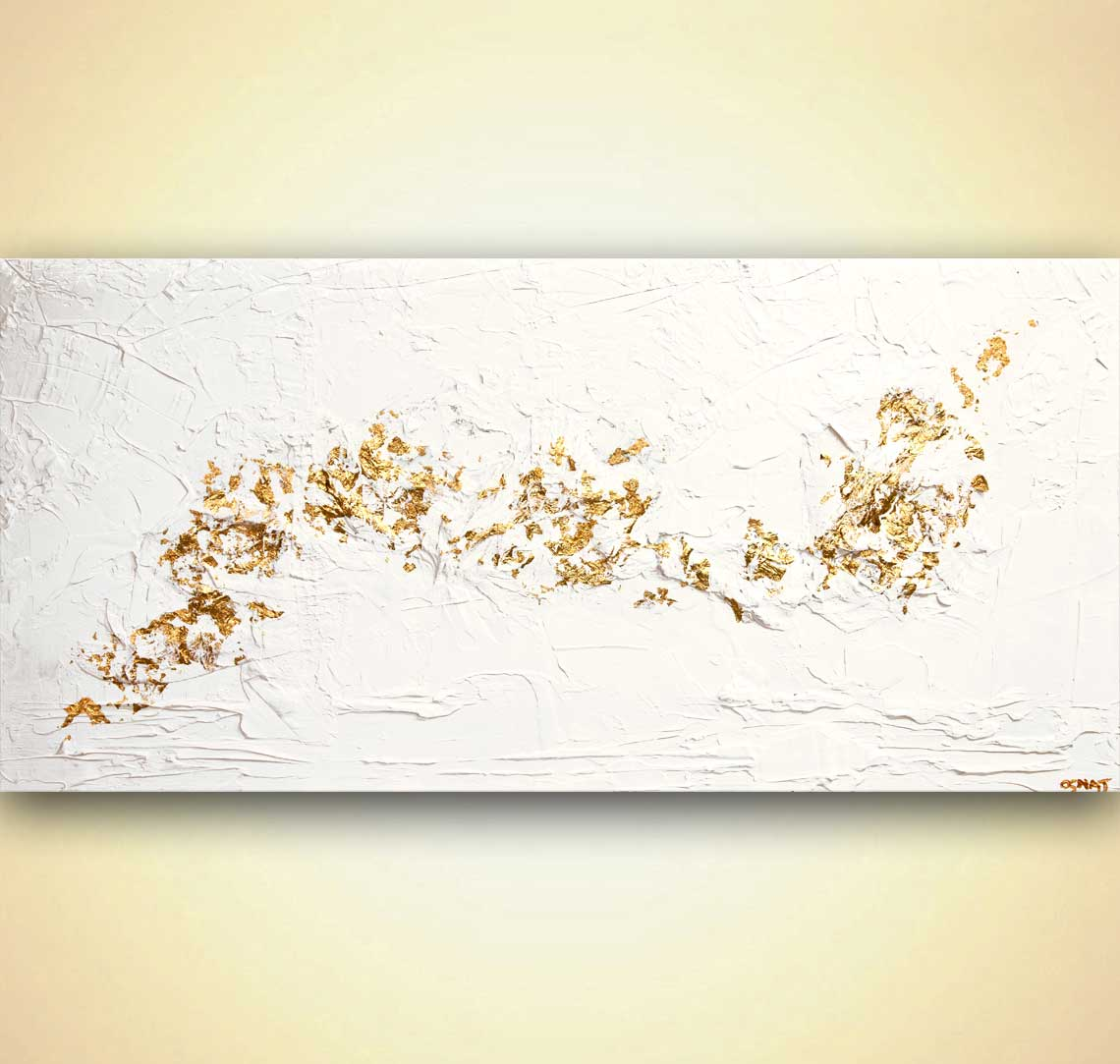 gold white textured abstract art