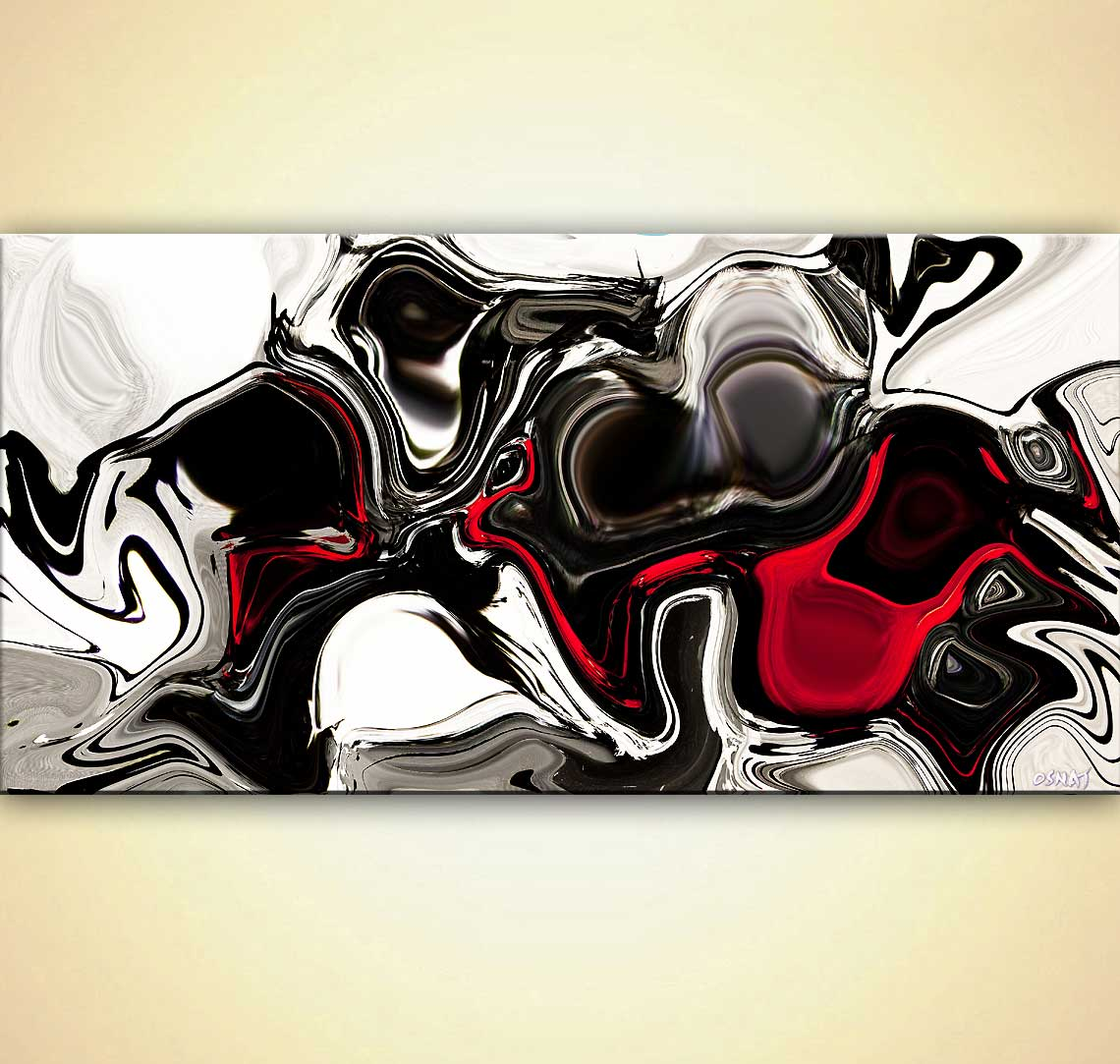 Painting For Sale Black White Red Abstract Print On Canvas 9145