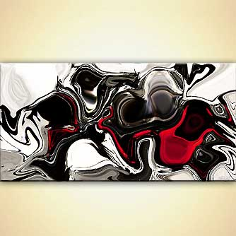 black white red abstract print on canvas