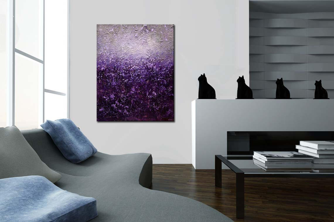 Painting Purple Gray Abstract Painting Heavy Texture