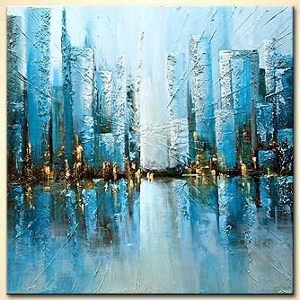 blue textured abstract city painting
