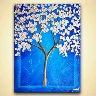 cherry blossom painting blue silver blooming tree painting