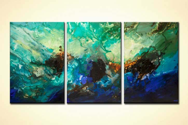 Big turquoise abstract art