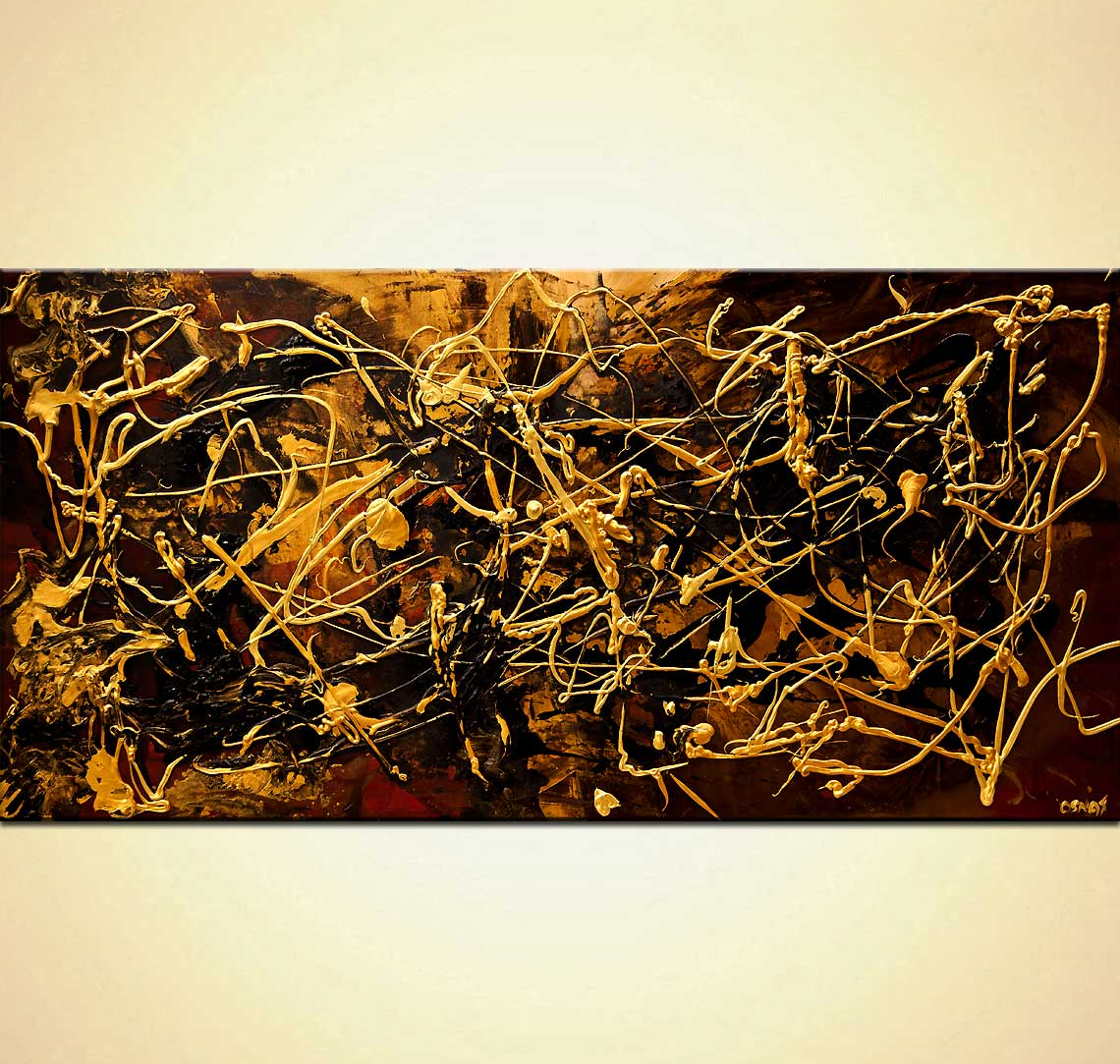 Black Gold textured abstract painting