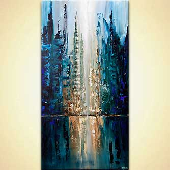 contemporary blue textured city painting