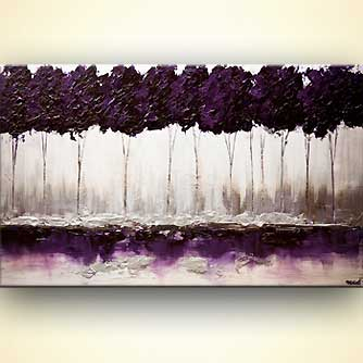 modern purple blooming trees textured landscape painting