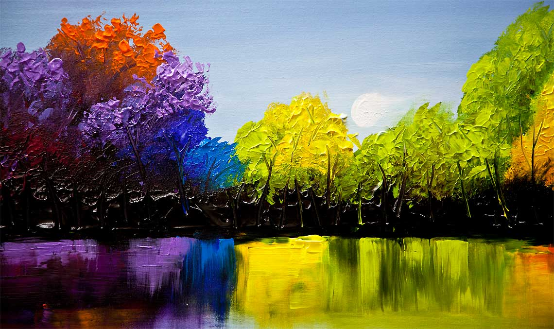 Painting For Sale Textured Colorful Landscape Painting 9198