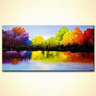textured colorful landscape painting
