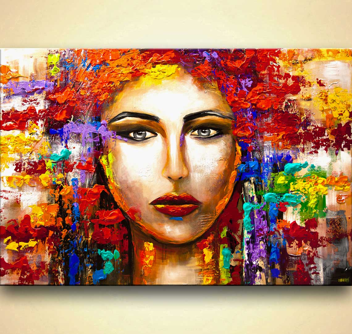 Buy Colorful Woman Portrait Large Textured Abstract Art 9234