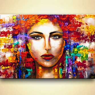 colorful woman portrait large textured abstract art