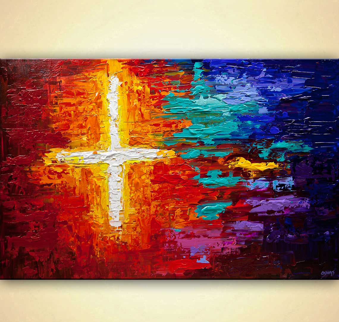 colorful textured cross art