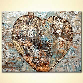 Modern abstract heart painting textured gold painting