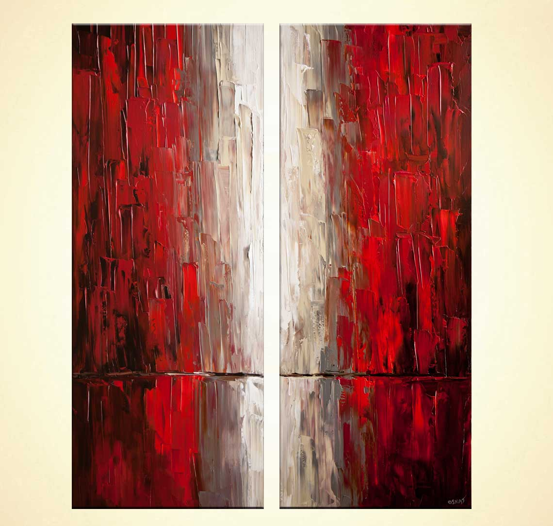 Cityscape Painting Modern Red Abstract City Painting
