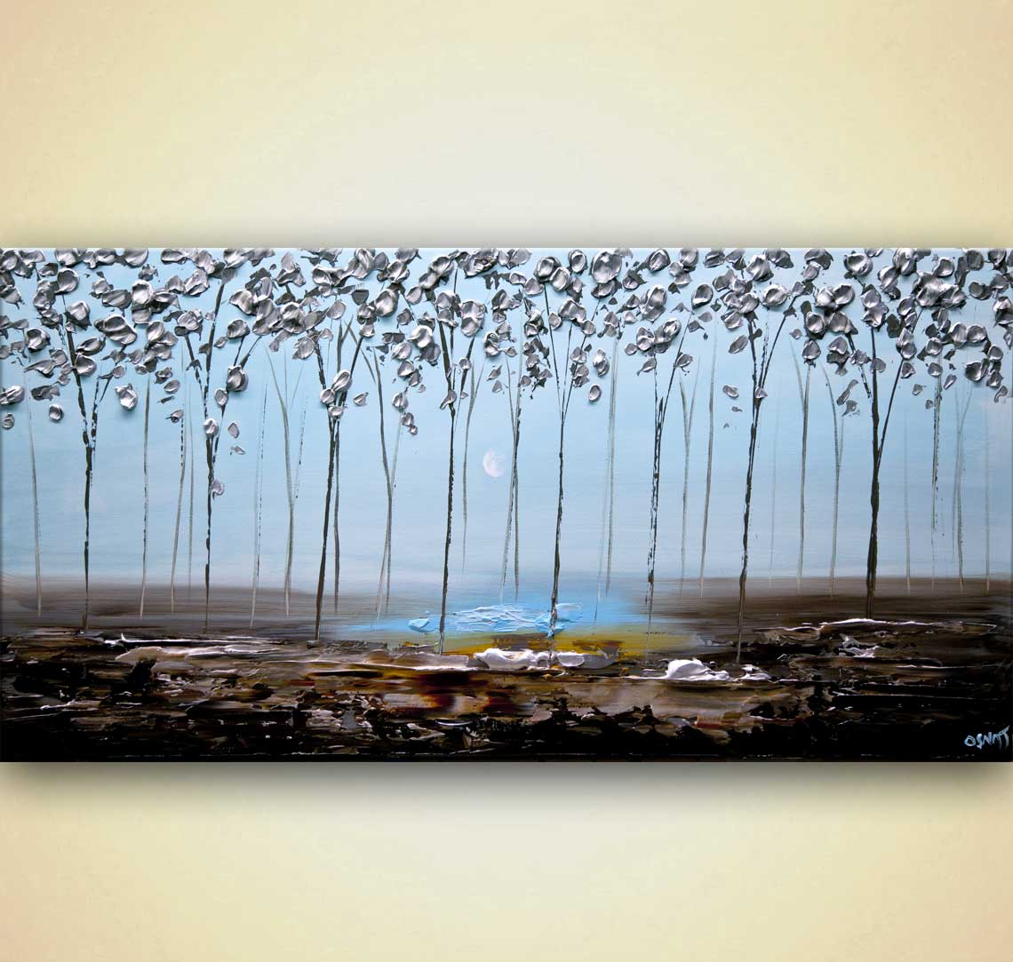 modern textured silver blooming trees abstract painting