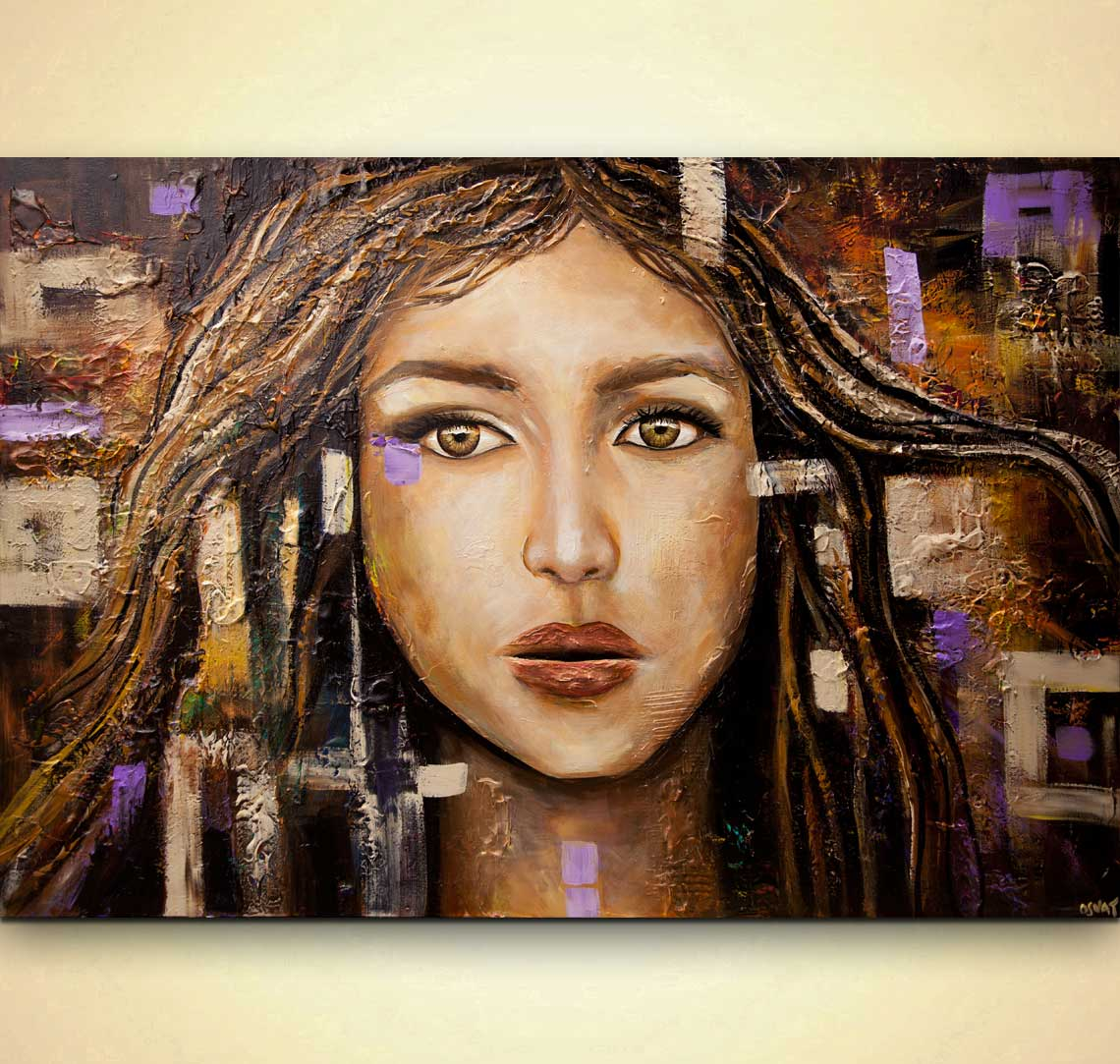 textured abstract portrait painting