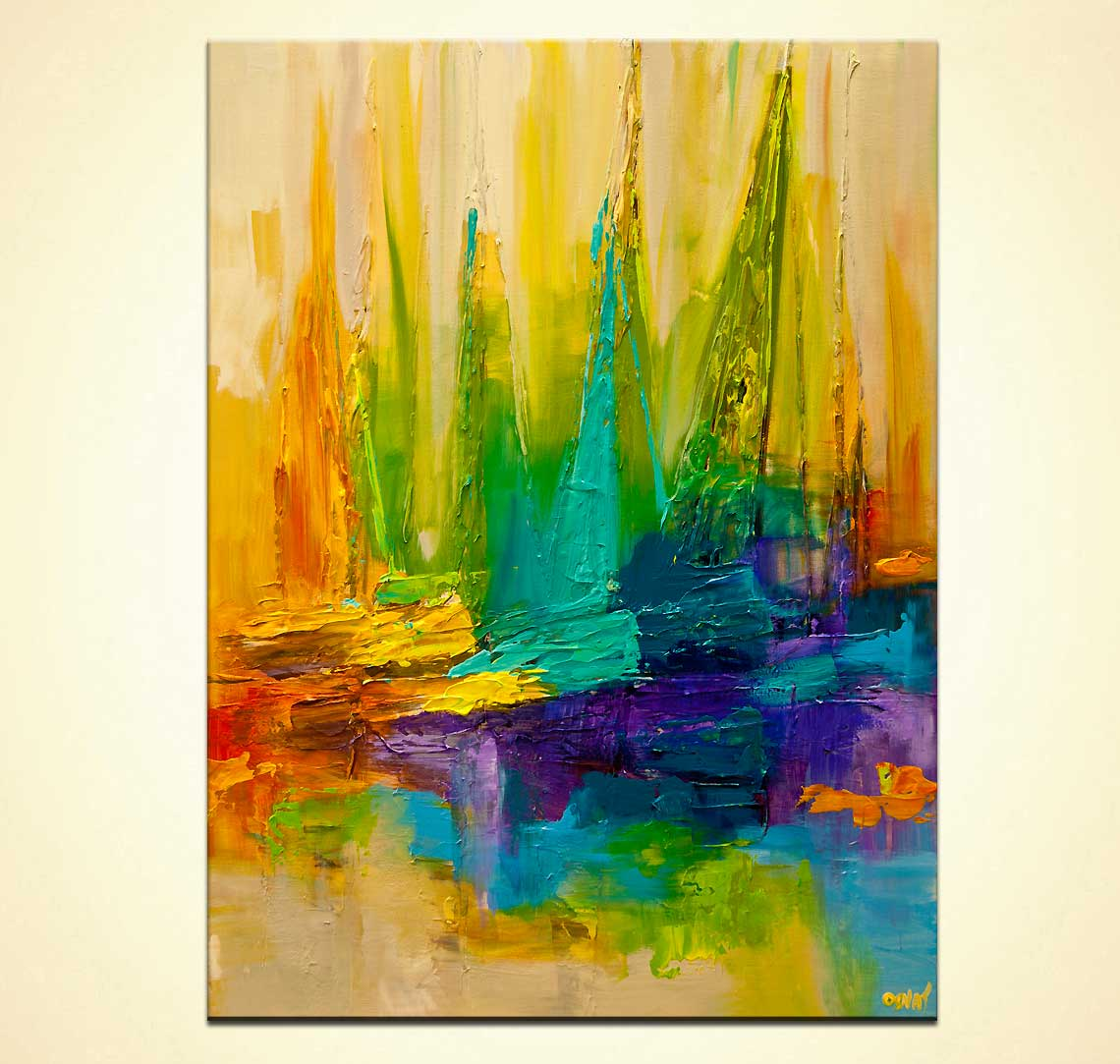 abstract art sailboats painting