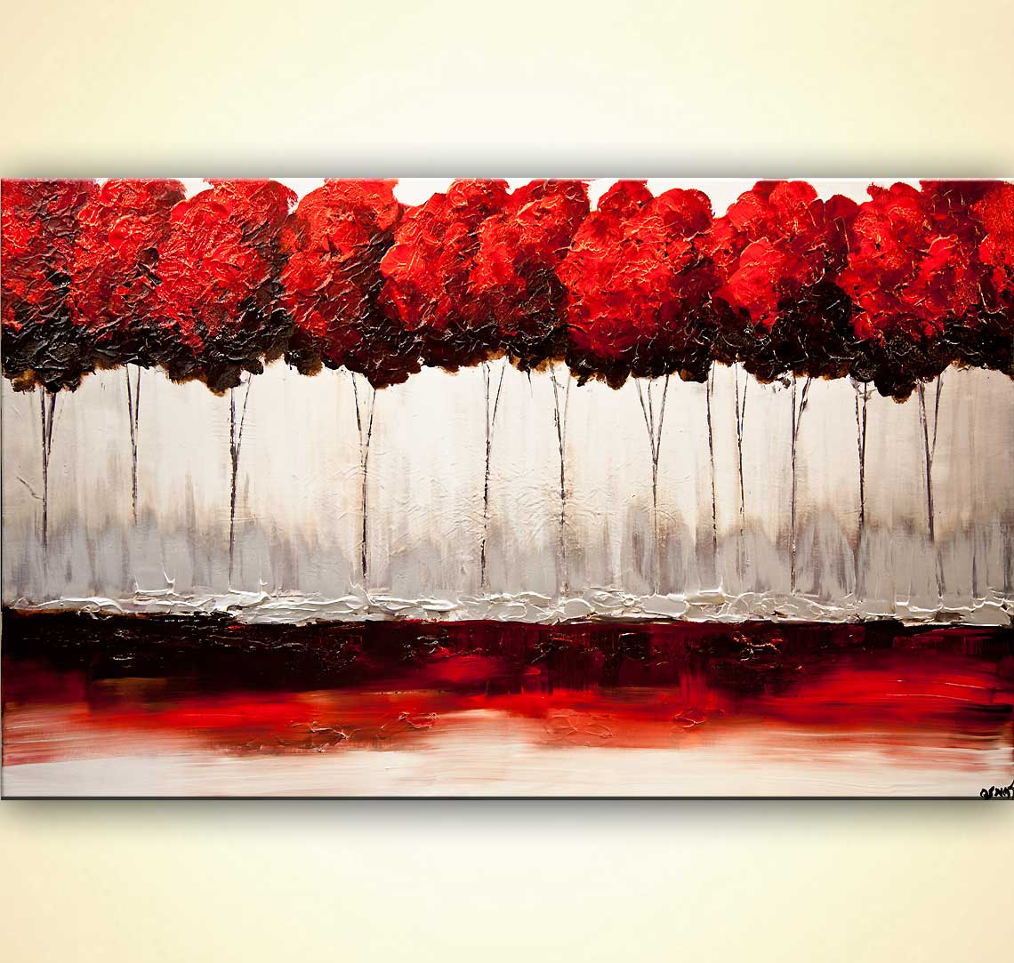 modern abstract art - Red Blossom
