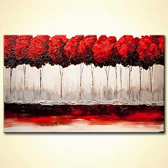 red blooming trees painting red blossom textured art
