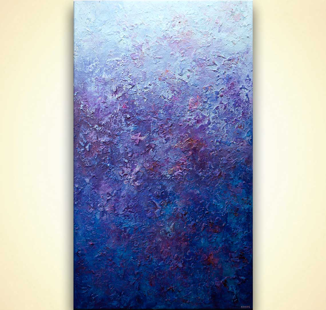 modern blue textured abstract painting