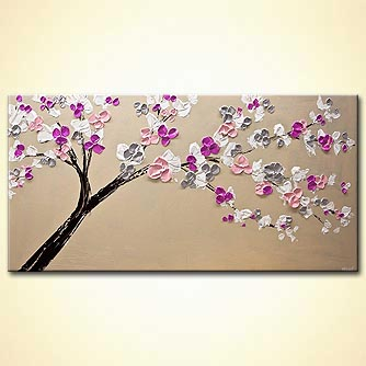 original modern blooming tree painting