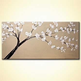 original palette knife blooming tree painting
