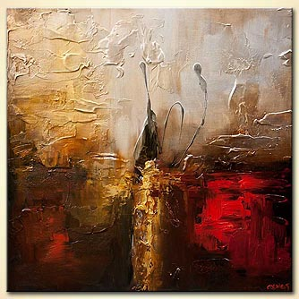 textured golden red abstract art