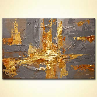 gold gray heavy textured abstract art