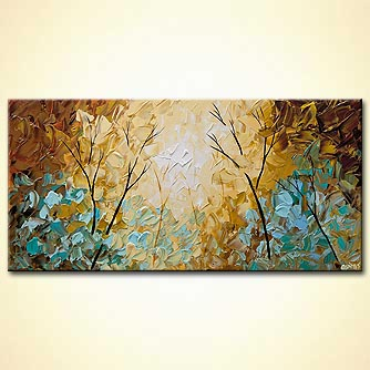 modern textured blooming trees painting