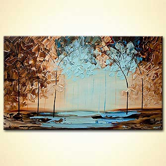 modern-textured-blue-brown-blooming-trees-painting