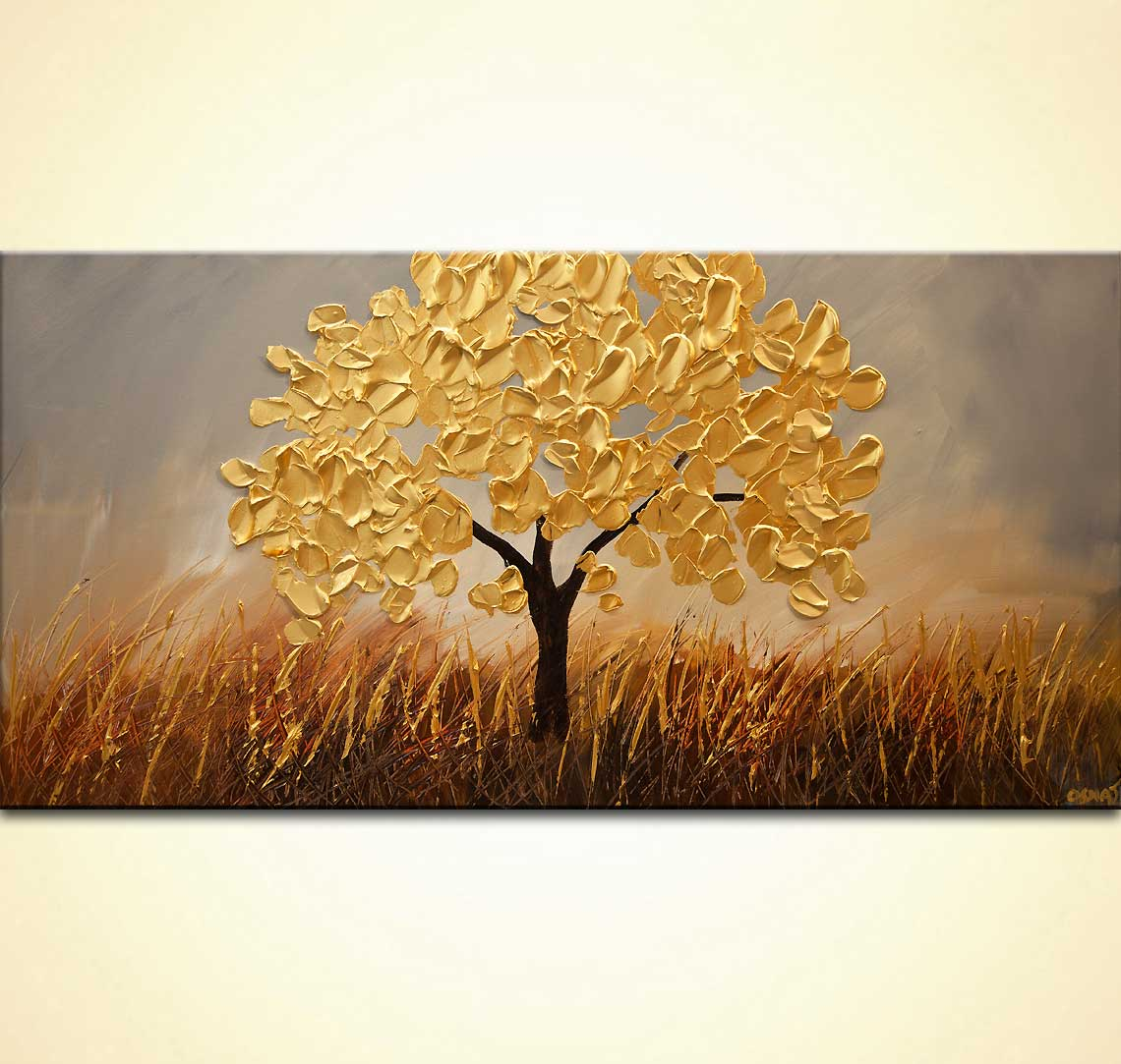 olive tree painting gold abstract art