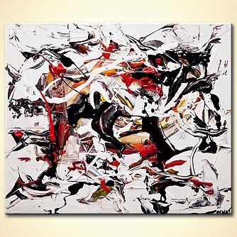 white black red abstract art
