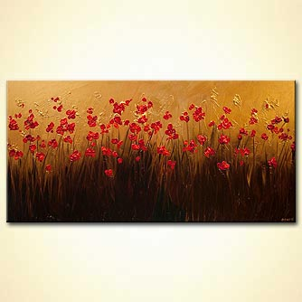 red blooming flowers gold textured painting