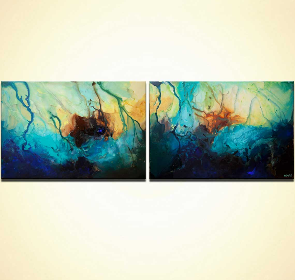 big blue abstract paintings