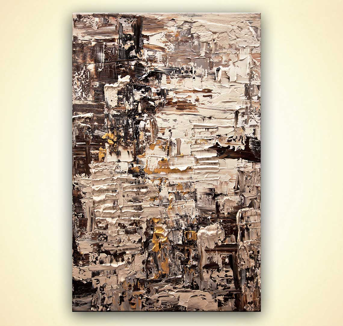 brown cream abstract art textured painting