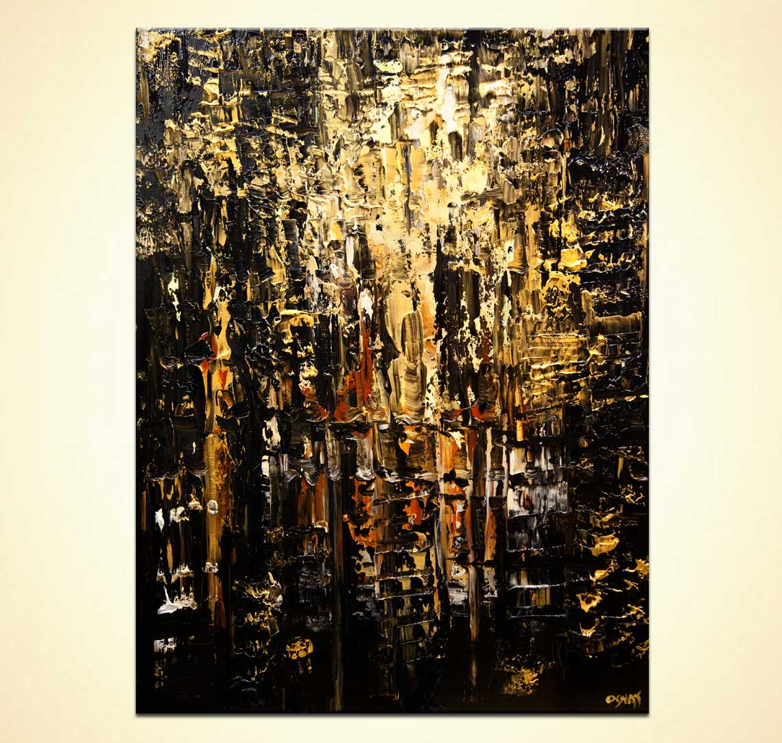 modern black gold textured abstract painting