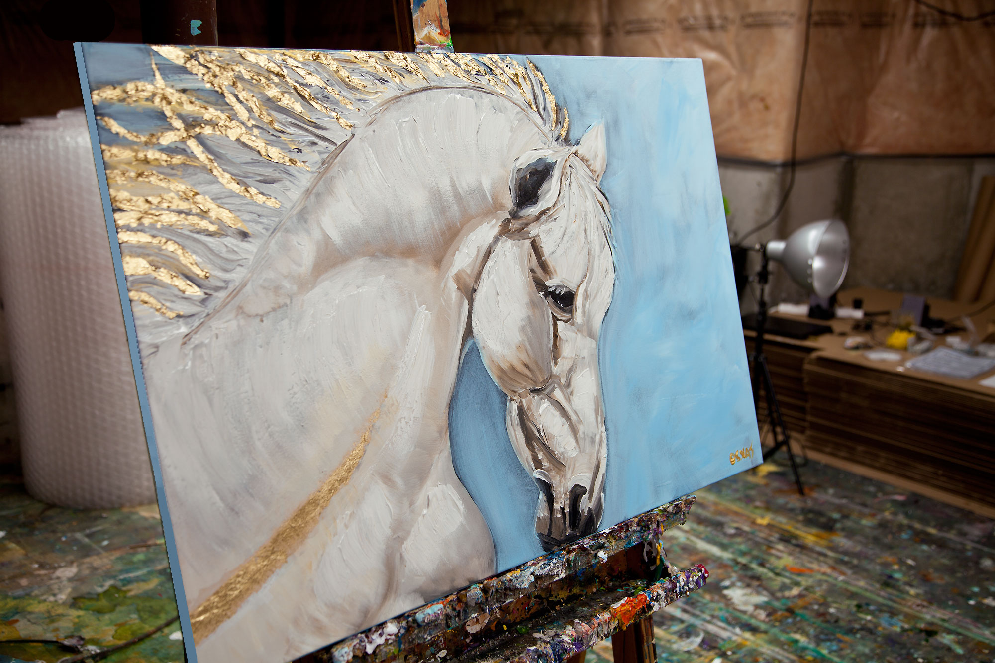 White Horse Abstract Painting With Gold And Baby Blue Colors By Osnat Ebay