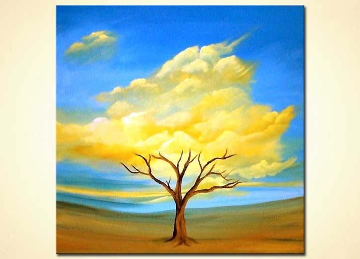 Painting heavenly blossoming tree blue sky 535 for Abstract nature painting