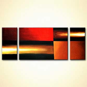 triptych abstract rays of light painting