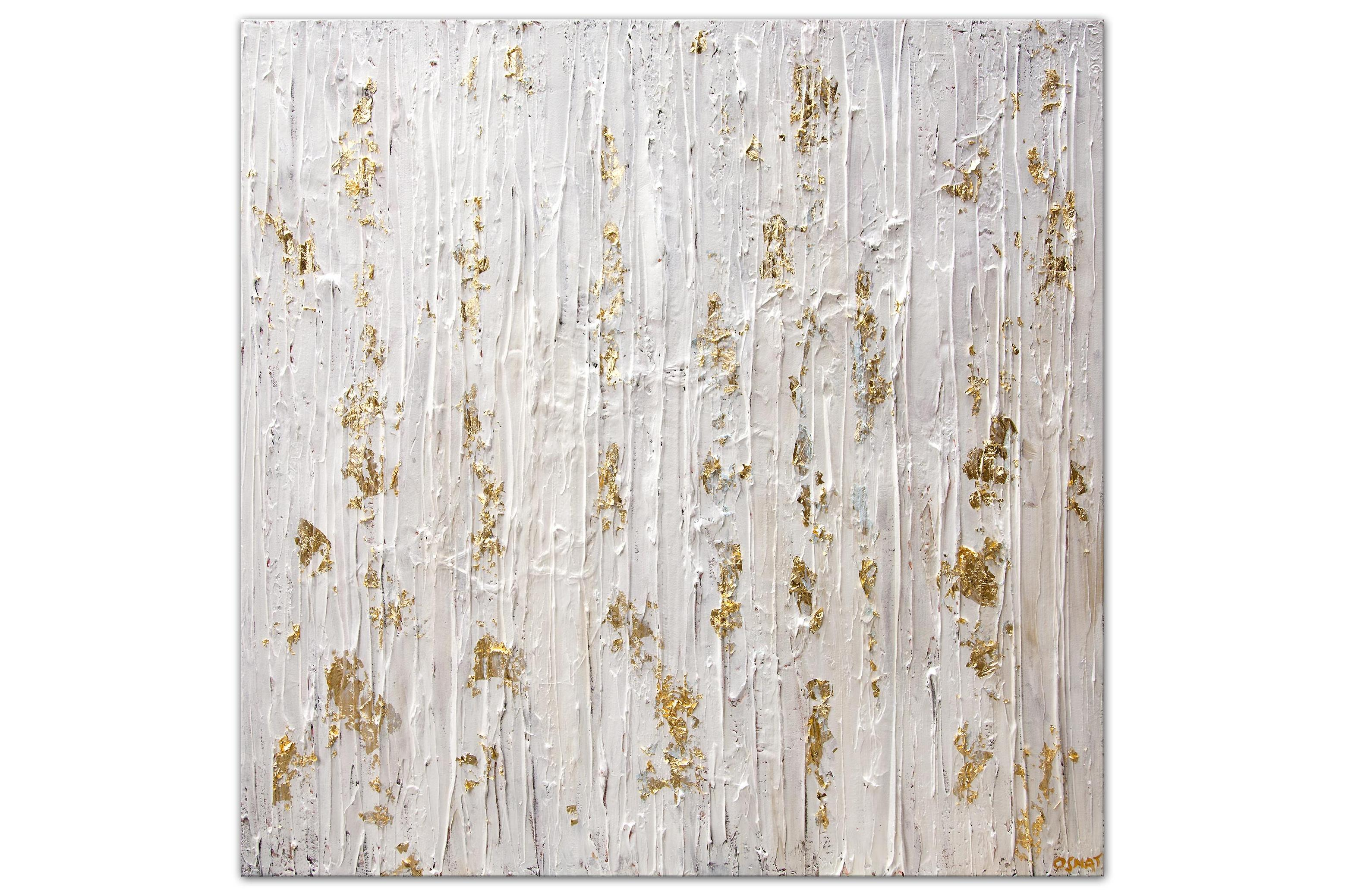 contemporary white gold textured abstract painting