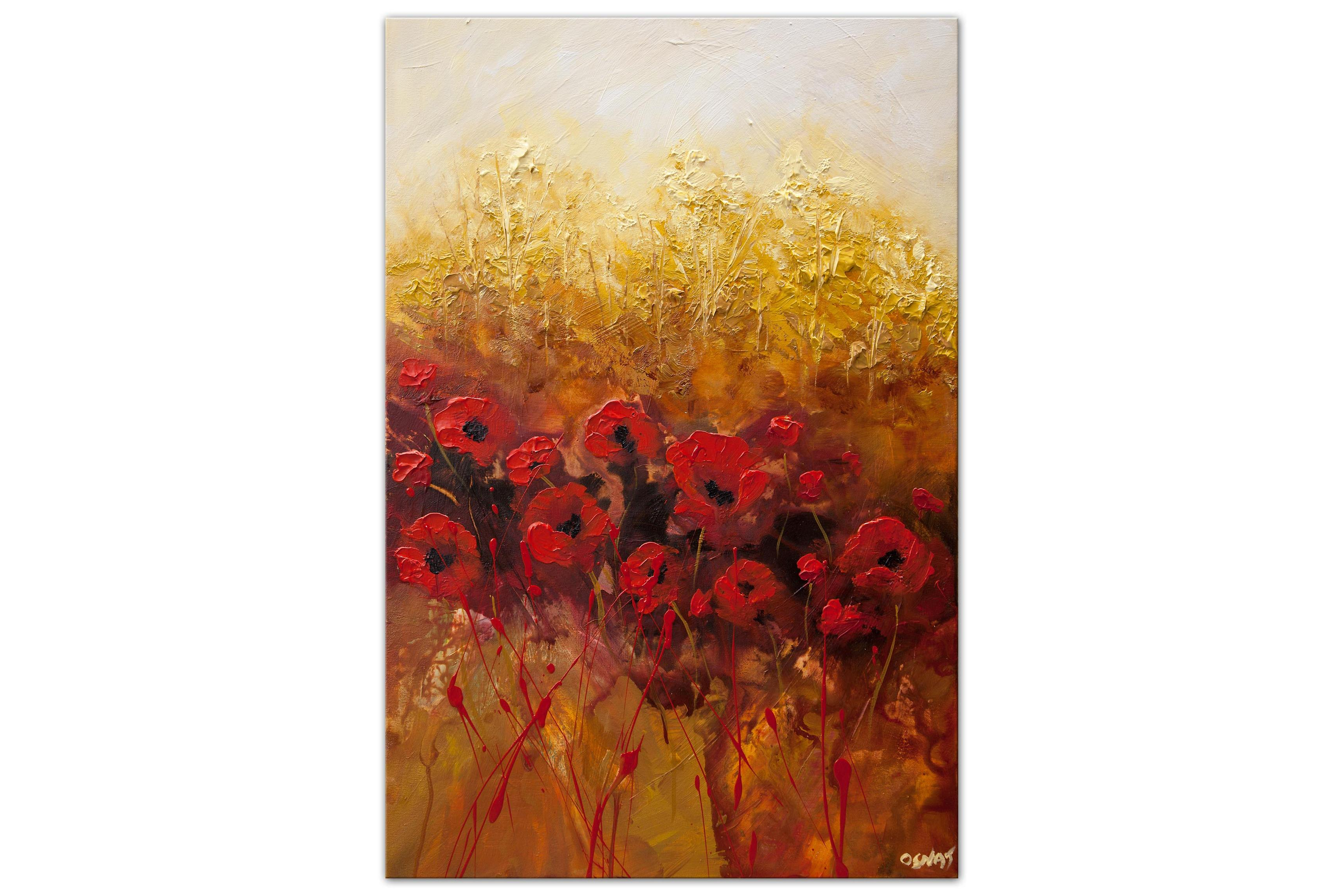 textured red poppies abstract painting