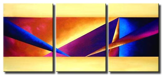 triptych canvas triangles art