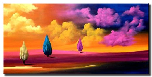colorful cypress trees painting