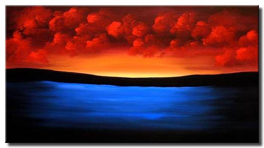 Painting For Sale Blue Ocean And Red Clouds 1334