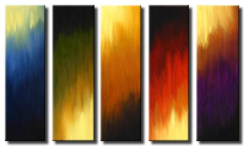multi panel living room abstract painting