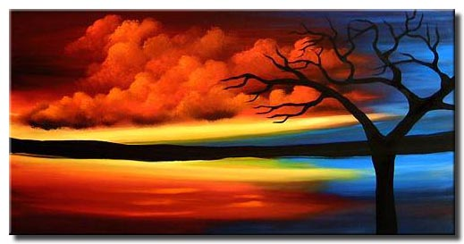 sunset landscape in red