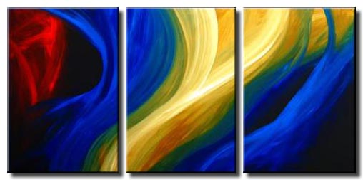 large abstract blue yellow